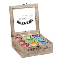 Кутия за чай Relaxdays, 9 отделения, Естествено дърво