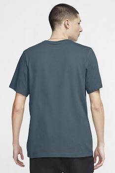 Nike, Tricou de bumbac cu decolteu la baza gatului, Gri carbune/Roz