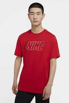 Nike, Tricou cu decolteu la baza gatului Swoosh Essential, Rosu/Alb