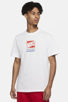 Nike, Tricou cu imprimeu logo, Alb/Rosu
