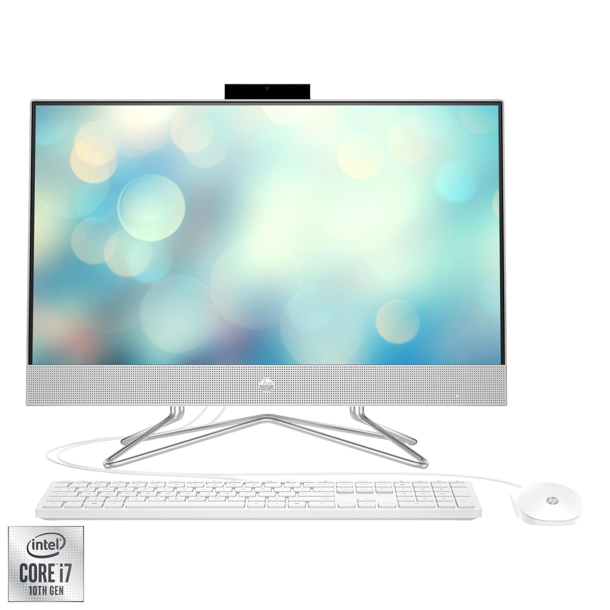 "Fotografie Sistem All-in-One HP 24-dp0074nq cu procesor Intel® Core™ i7-10700T pana la 4.50 GHz, Comet Lake, 23.8"", Full HD, 16GB DDR4, 512GB SSD NVMe, Intel® UHD Graphics 630, No OS, Natural Silver"