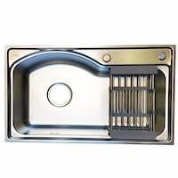 Кухненска мивка MalMuk MAT, 78х47х21см, С включена вана, С десен плот, Алпака, За вграждане, Хром
