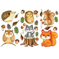 Erdei állatok 5 Dekorációs falmatrica, 3 lap 30cm x 60cm