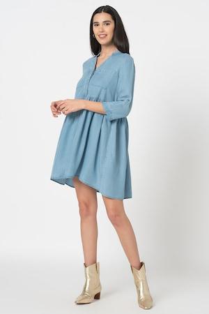 Vero Moda, Разкроена рокля Libbie от лиосел, Светлосин