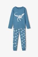 NAME IT, Пижама с органичен памук и десен, Бледосин, мръснобял, 110-116 CM Standard