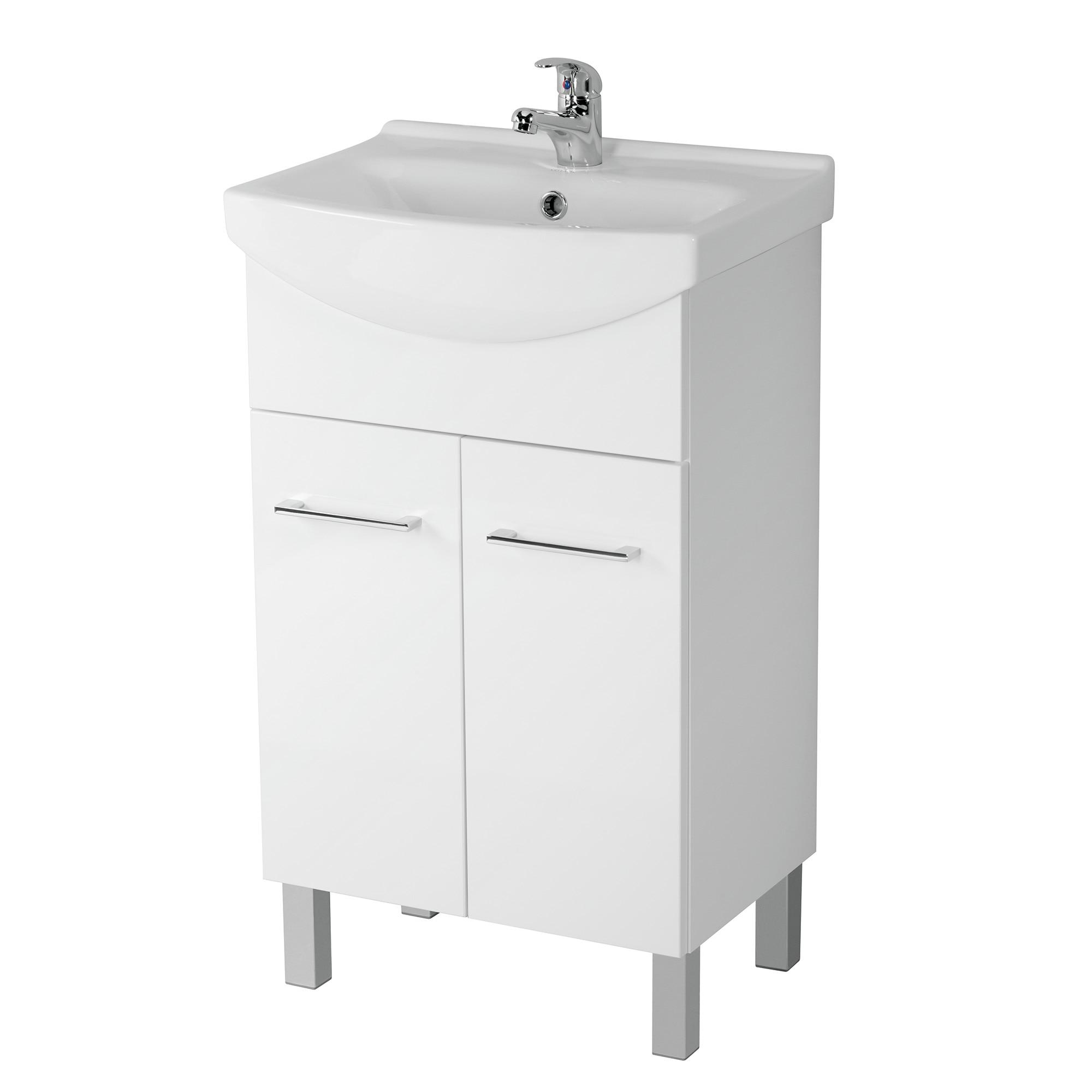 Fotografie Pachet baza mobilier Cersanit A57 Olivia 50, 2 usi + Lavoar Cersanit, MDF, 50 cm, Alb
