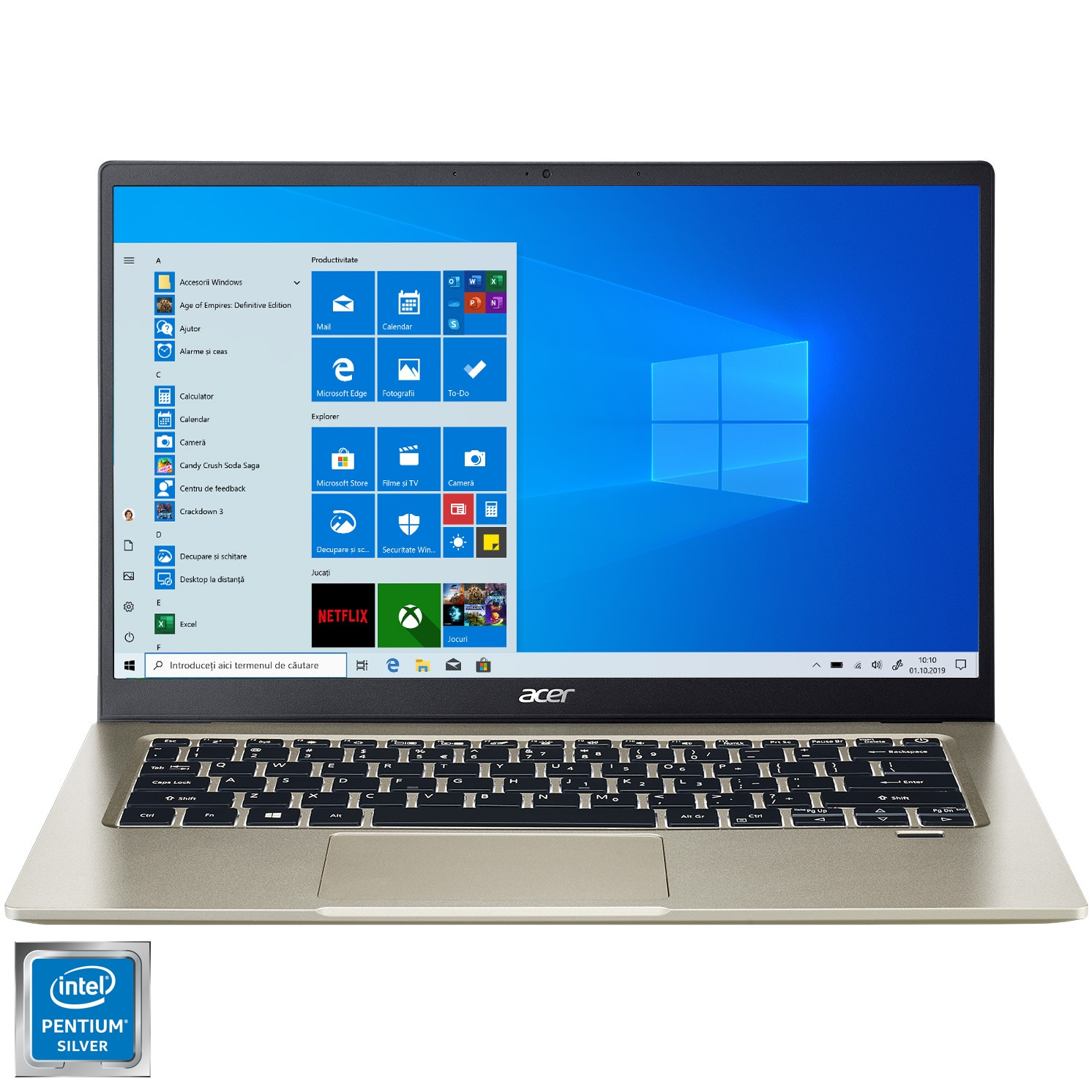"Fotografie Laptop ultraportabil Acer Swift 1 SF114-33 cu procesor Intel® Pentium® Silver N5030 pana la 3.10, 14"", Full HD, 8GB, 256GB SSD, Intel UHD Graphics, Windows 10 Home, Gold"