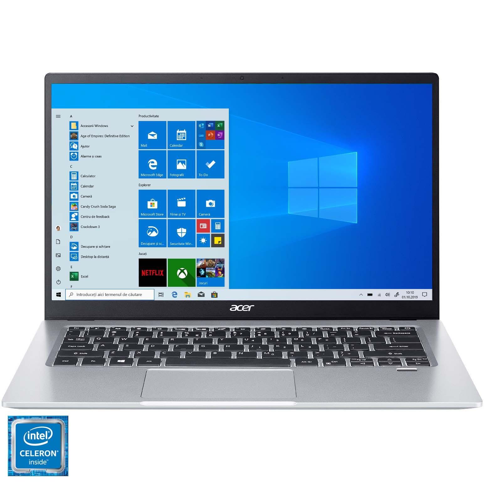 "Fotografie Laptop ultraportabi Acer Swift 1 SF114-33 cu procesor Intel® Celeron® Quad Core Processor N4120 pana la 2.60 GHz, 14"", Full HD, 4GB, 256GB SSD,Windows 10 Home, Silver"