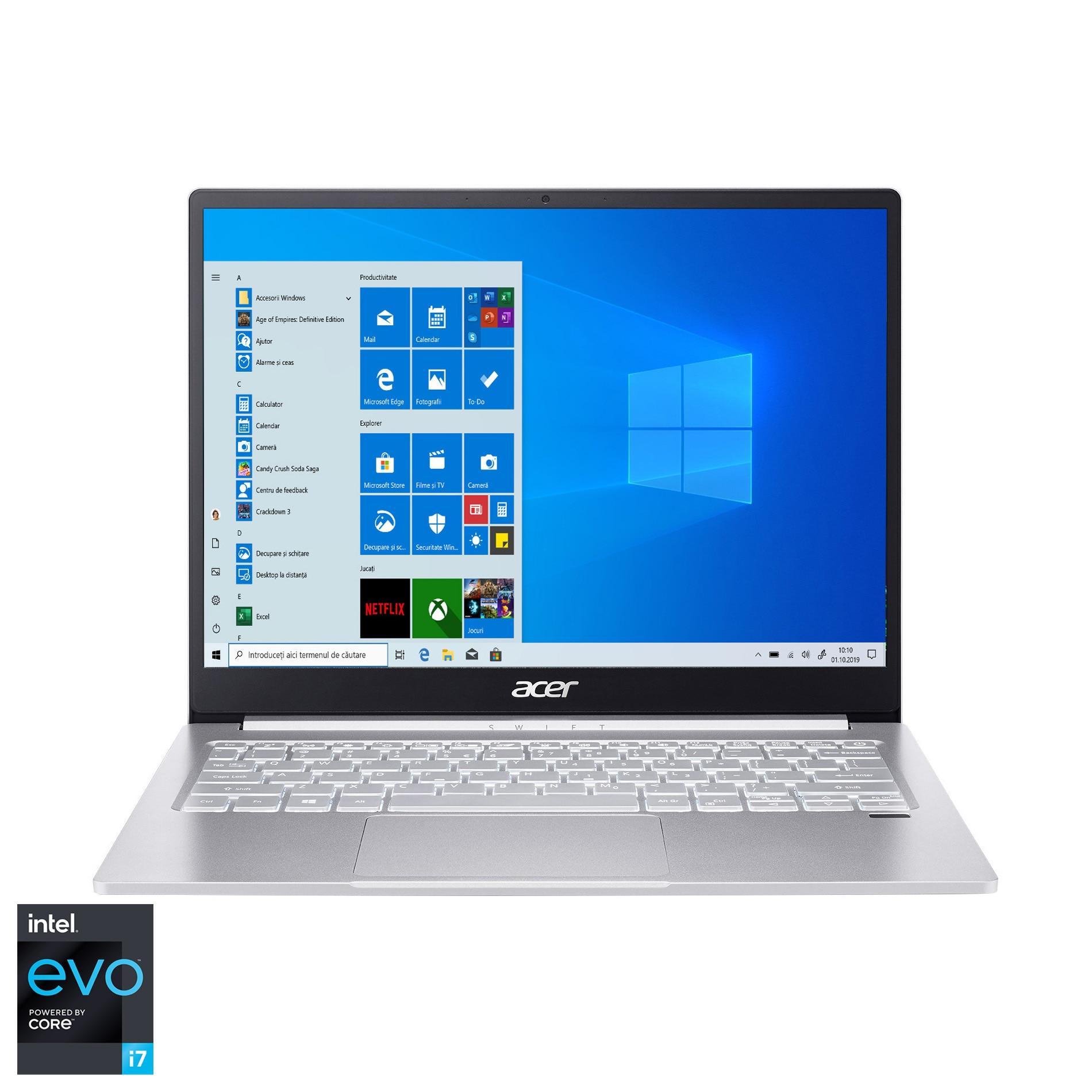 "Fotografie Laptop ultraportabil Acer Swift SF313-53 cu procesor Intel® Core™ i7-1165G7 pana la 4.70 GHz, 13.5"", QHD, 16GB, 1TB SSD, Intel UHD Graphics, Windows 10 Home, Sparkly Silver"