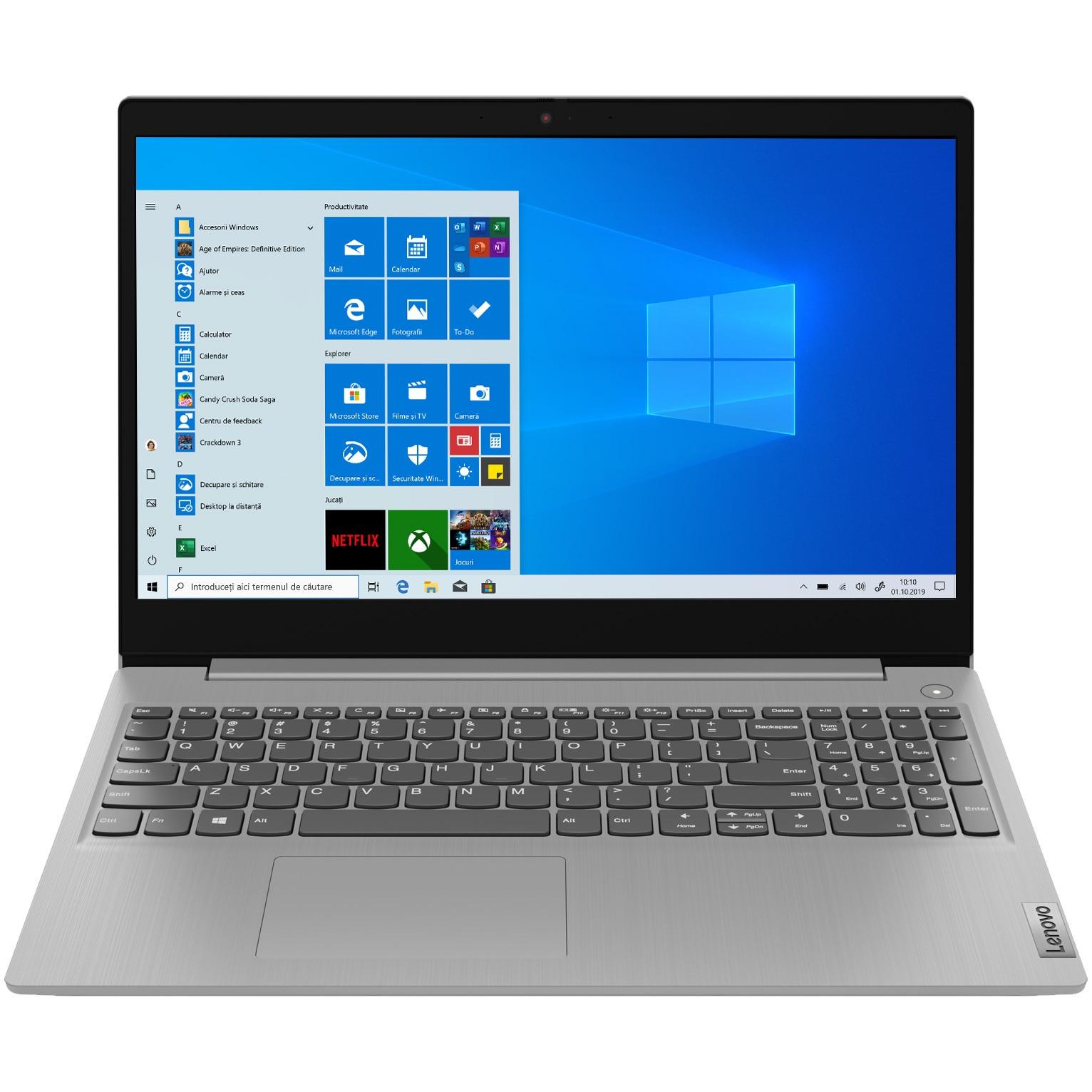 "Fotografie Laptop Lenovo IdeaPad 3 15ADA05 cu procesor AMD Ryzen 3 3250U pana la 3.50 Ghz, 15.6"", Full HD, 4GB, 128GB SSD, AMD Radeon Graphics, Windows 10 Home S, Platinum Grey"