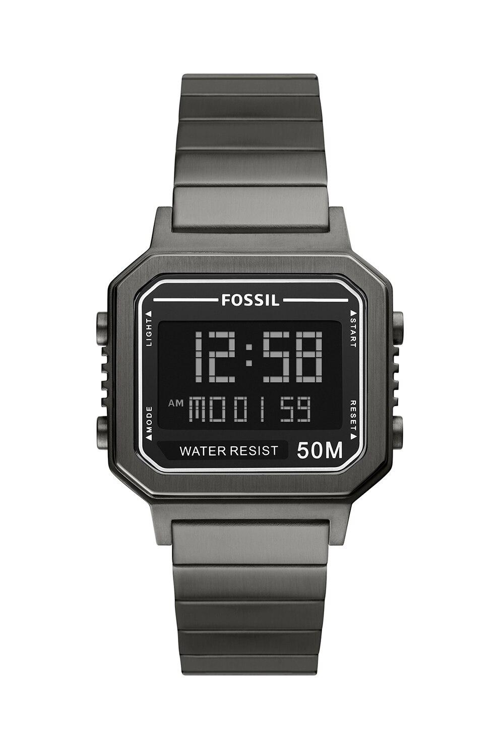 Fotografie Fossil, Ceas digital cu bratara de otel inoxidabil, Argintiu inchis