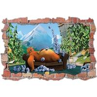 3D Dekorációs falmatrica, Grizzy and the Lemmings, 60x90cm