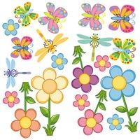 Lepkék és virágok Dekorációs falmatrica, 2 lap 30cm x 60cm