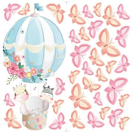 Léggömb pillangókkal Dekorációs falmatrica, 2 lap 30cm x 60cm