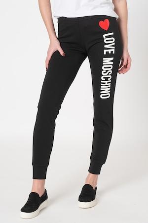 Love Moschino, Спортен панталон по тялото с лого, Черен / Бял / Червен