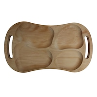 Platou lemn cu manere, tava servire aperitive/legume/friptura, 4 compartimente, 59L x 39l x 3 h , traditional, bej