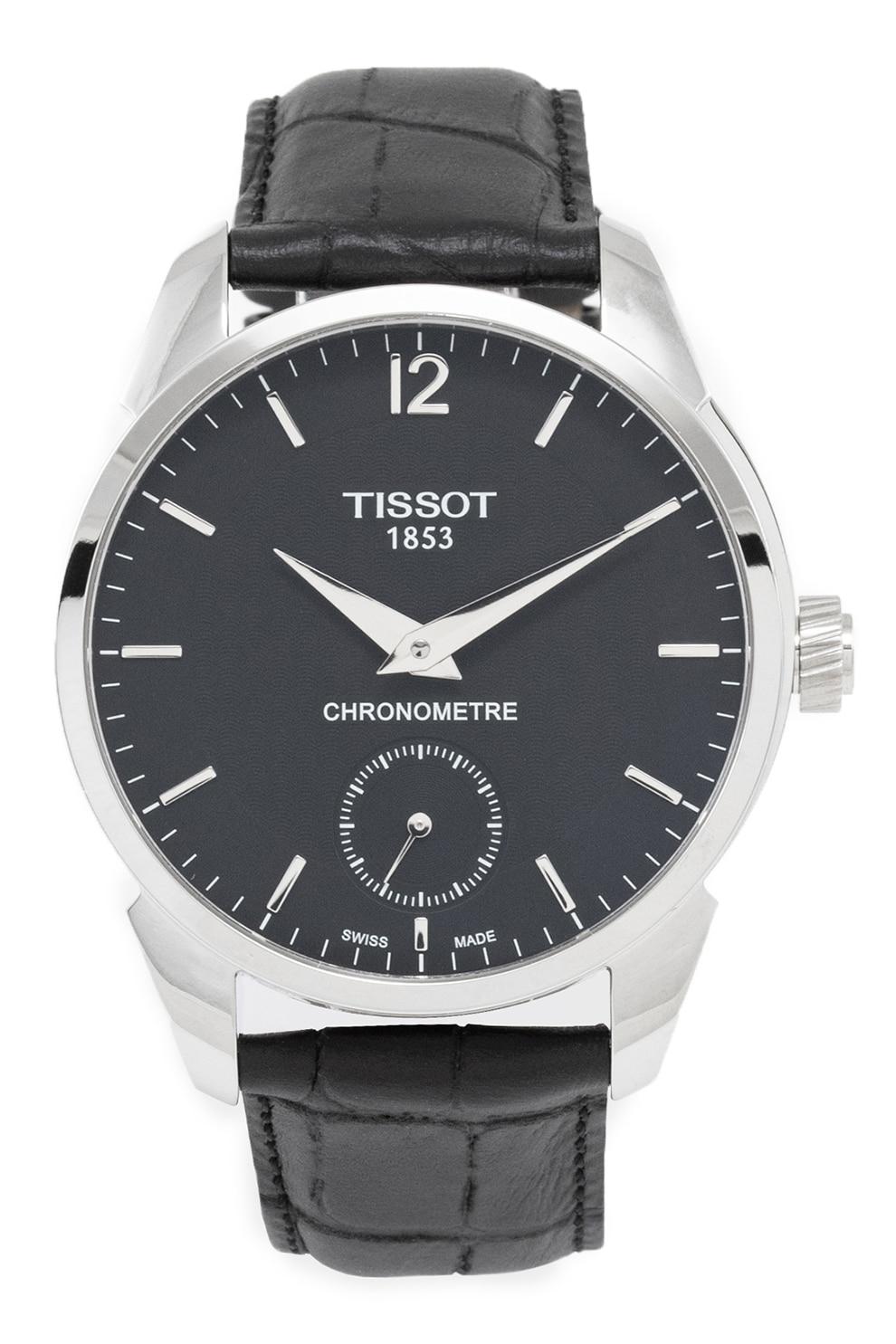 Fotografie Tissot,Ceas mecanic cu o curea de piele, Negru/Argintiu