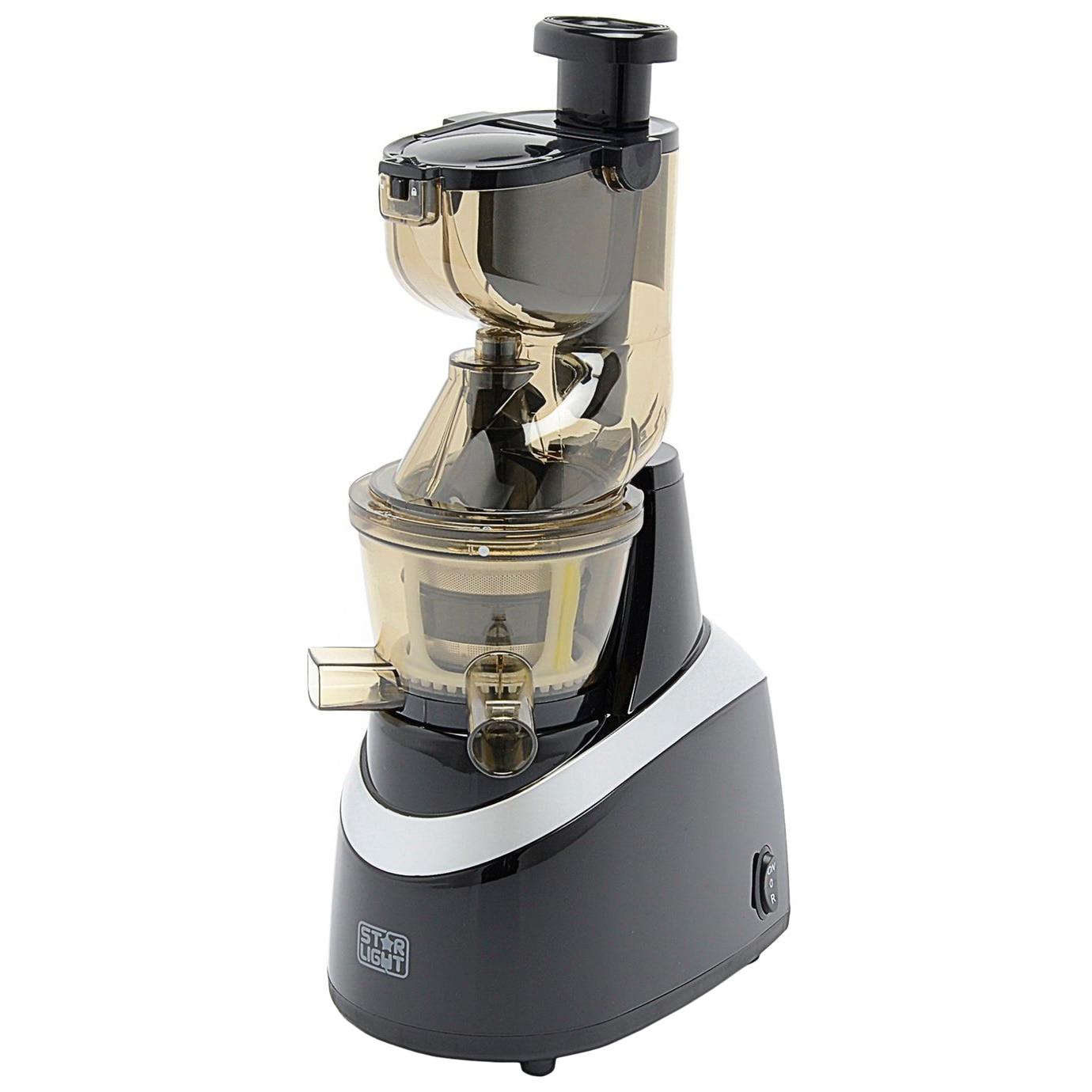 Fotografie Storcator de fructe si legume cu melc Star-Light SJB-240B, 240 W, 80 RPM, Recipient suc 1.0 l, Recipient pulpa 0.8 l, Functie Reverse, Tub alimentare 80 mm, Negru/Argintiu