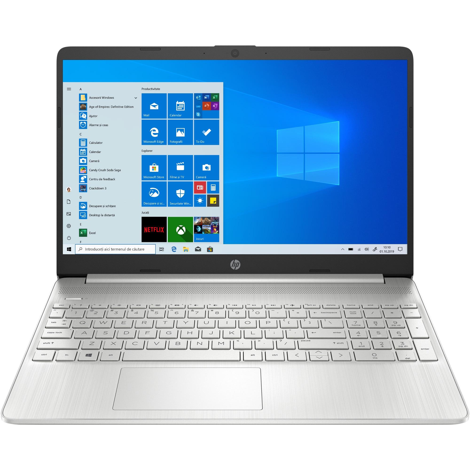 "Fotografie Laptop HP 15s-eq0777nd cu procesor AMD Ryzen™ 5 3500U pana la 3.70 GHz, 15.6"", Full HD, 16GB, 512GB SSD, AMD Radeon™ Vega 8 Graphics, Windows 10 Home, Natural silver"