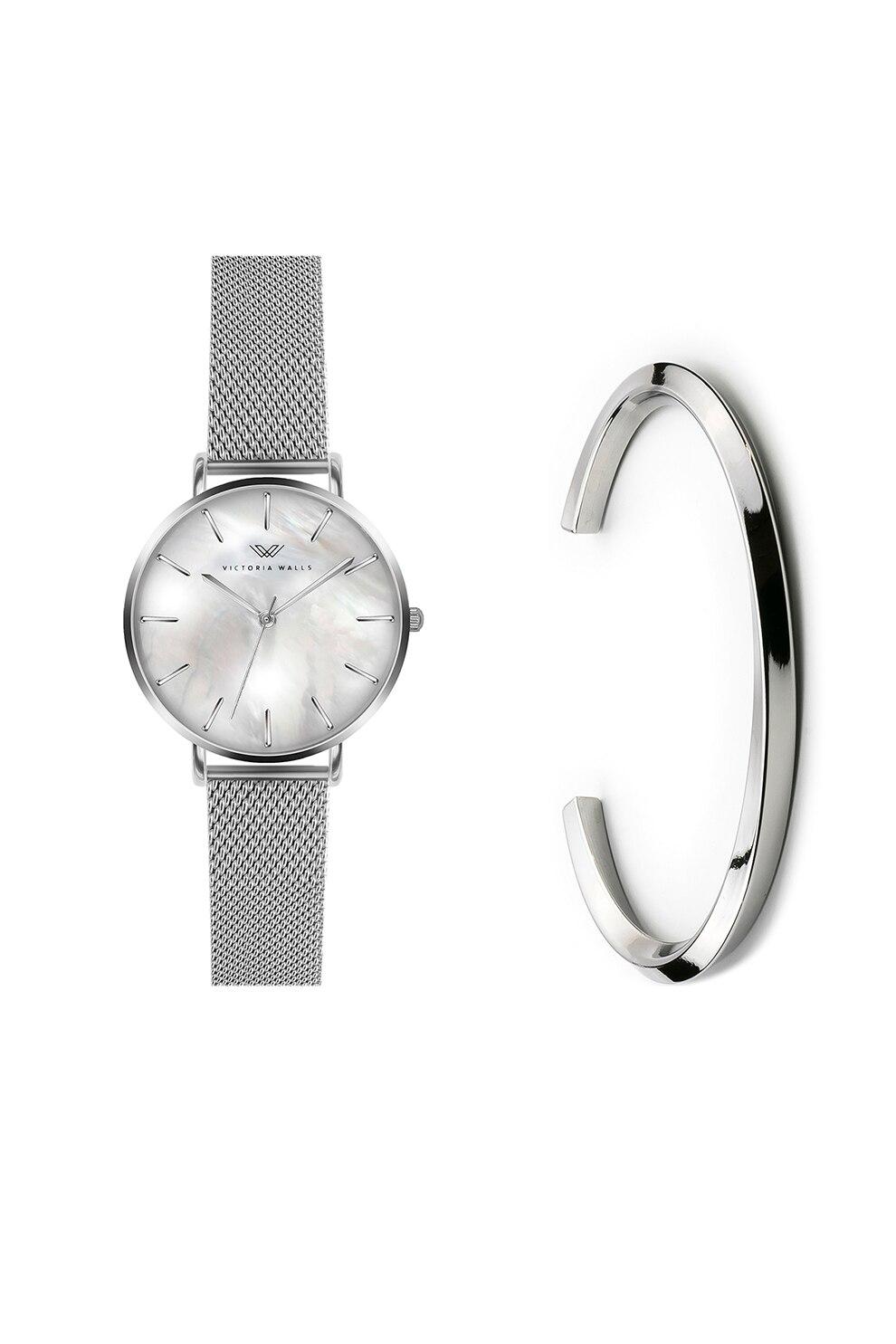 Fotografie Victoria Walls, Set de ceas de otel inoxidabil si bratara, Argintiu