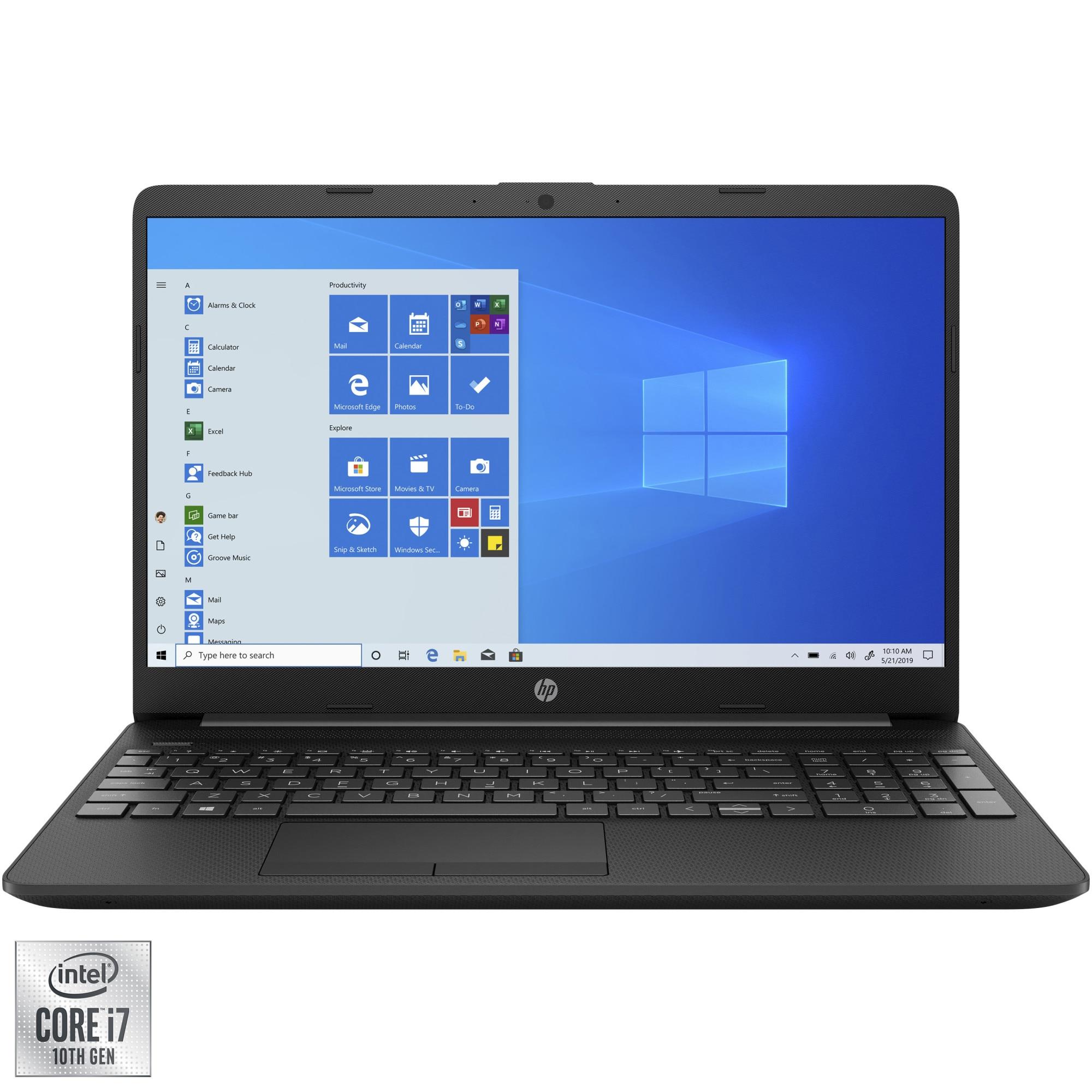 """Fotografie Laptop HP 15-dw2022nq cu procesor Intel® Core™ i7-1065G7 pana la 3.90 GHz, 15.6"""", Full HD, 8GB, 512GB SSD, NVIDIA® GeForce® MX330 2GB, Windows 10 Home, Black"""