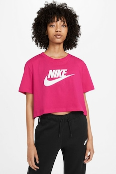 Nike, Tricou crop cu imprimeu logo Sportswear Essentials, Fucsia