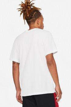 Nike, Tricou cu decolteu la baza gatului si detaliu logo Jordan Jumpman, Alb prafuit