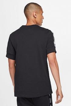 Nike, Tricou cu decolteu la baza gatului si garnituri cu logo Repeat, Negru