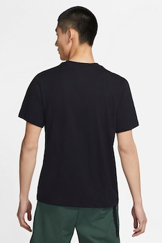 Nike, Tricou cu decolteu la baza gatului si logo supradimensionat Swoosh, Negru