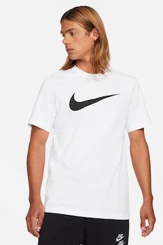Nike, Tricou cu decolteu la baza gatului si logo supradimensionat Swoosh, Alb