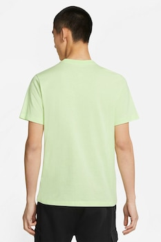 Nike, Tricou cu decolteu la baza gatului si logo supradimensionat Swoosh, Verde lime