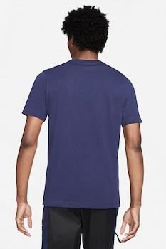 Nike, Tricou cu decolteu la baza gatului si logo supradimensionat Swoosh, Bleumarin