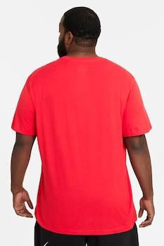 Nike, Tricou cu decolteu la baza gatului si logo supradimensionat Swoosh, Rosu