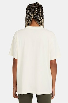 Nike, Tricou cu decolteu la baza gatului Sportswear Essential, Crem