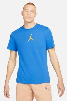 Nike, Tricou cu decolteu la baza gatului si detaliu logo Jordan Jumpman, Albastru