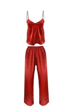 Szatén pizsama,piros,L, méret