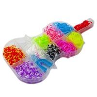 Kreatív készlet kiegészítőkkel rugalmas karkötők készítéséhez, 400 darab, hegedű alakú, többszínű, Robentoys®