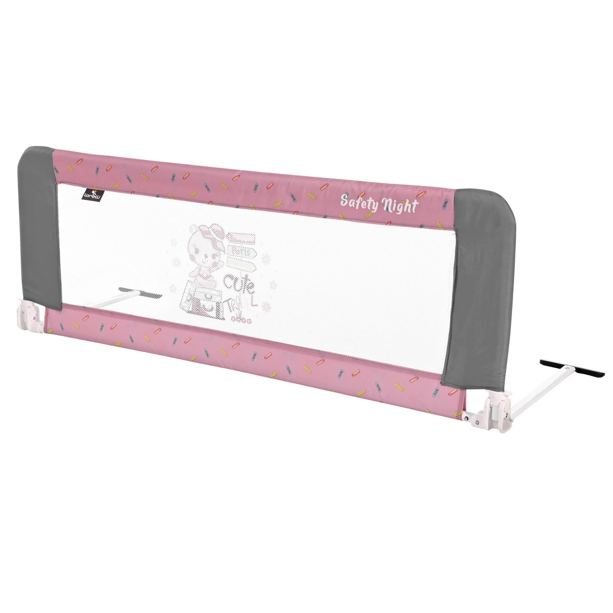 Fotografie Bariera de protectie pentru pat Lorelli Safety Night, reglabila, Pink Traveling, Roz