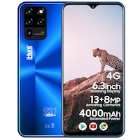 "iHunt S21 Ultra 4G 2021 Mobiltelefon, Kártyafüggetlen, 6.3"" képernyő IPS, 2GB RAM, 16GB ROM, DualSIM, Android 10 GO, 4000mAh, Kamera 13MP, 4G, Kék"