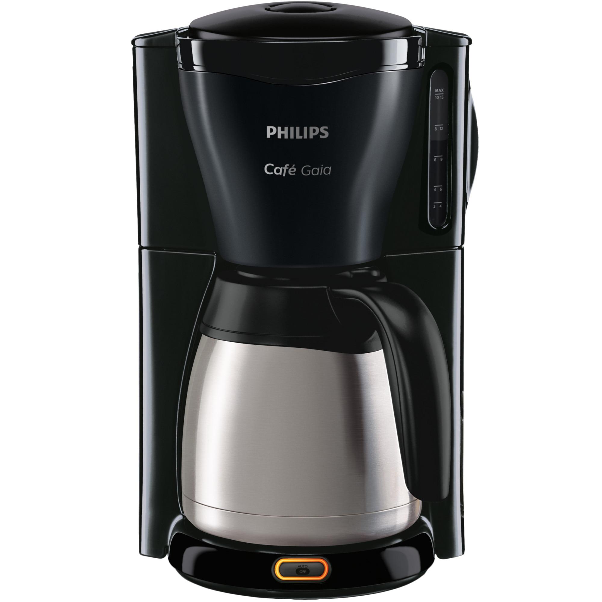 Fotografie Cafetiera Philips Gaia HD7544/20, 1000 W, vas termorezistent din otel inoxidabil, 1,2 l, sistem anti-picurare, negru