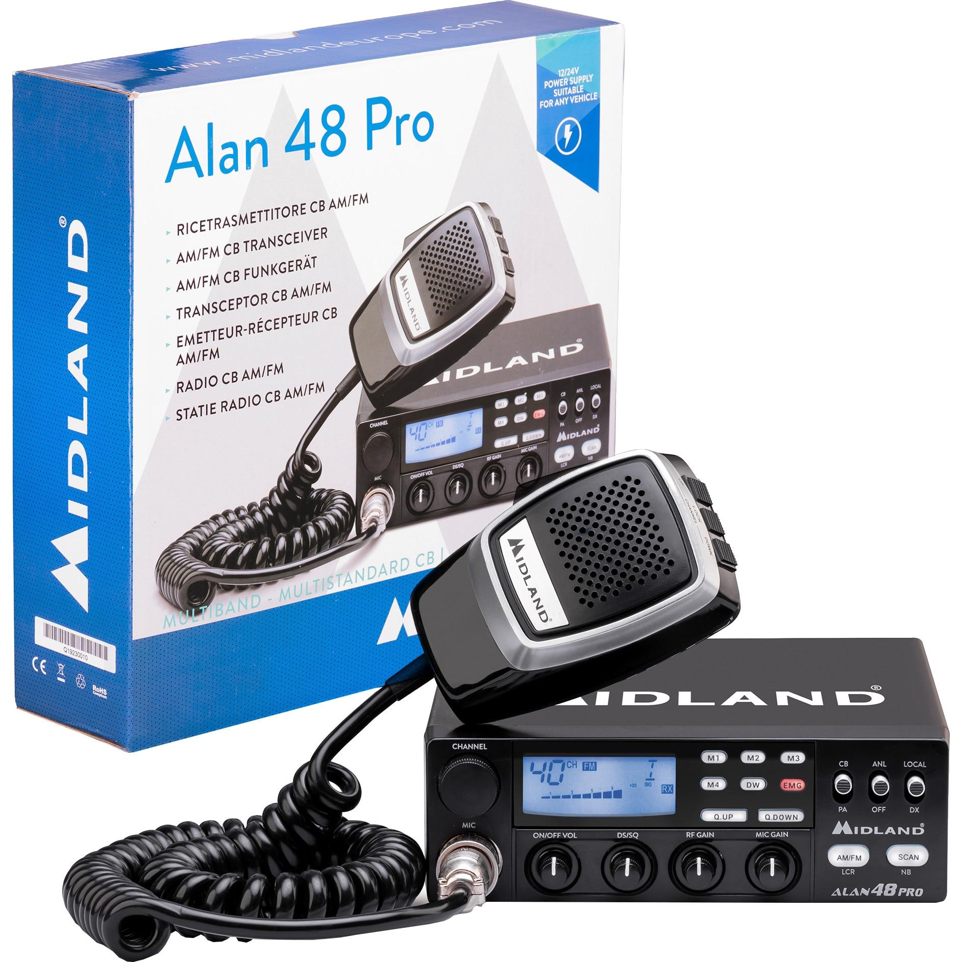 Fotografie Statie radio CB Midland Alan 48 Pro cu ASQ Digital, AM/FM, Noise Blanker, 12-24V