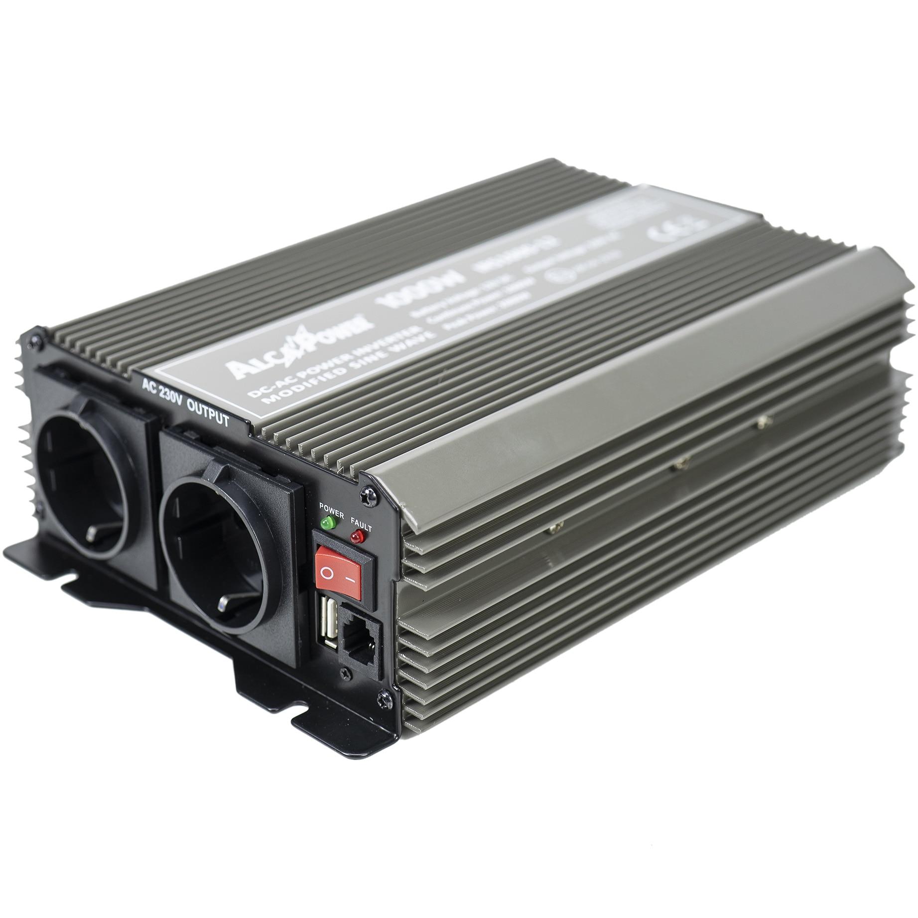 Fotografie Invertor de tensiune AlcaPower by President 1000W 12V-230V, sinusoida modificata, port USB, intrare telecomanda