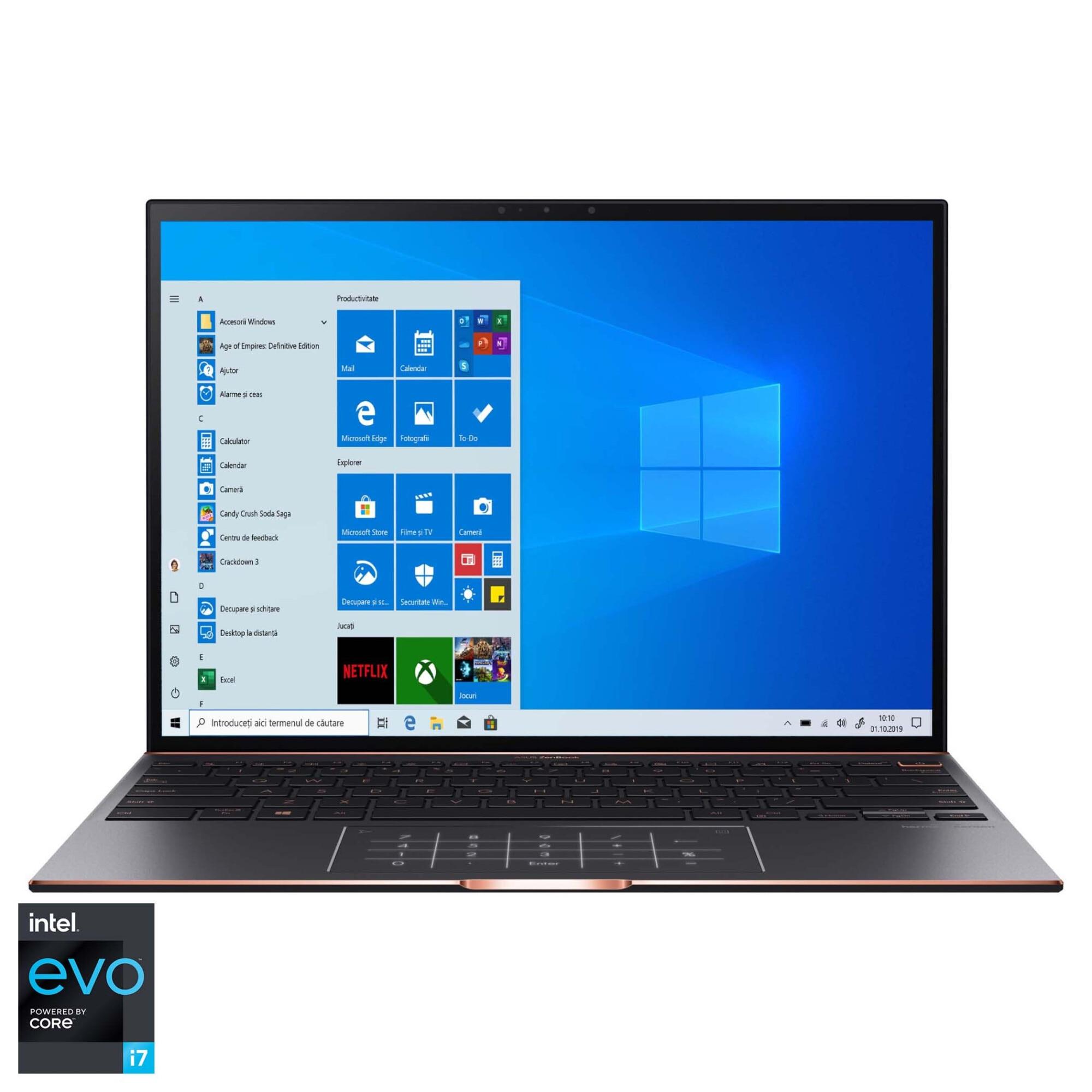 "Fotografie Laptop ultraportabil ASUS ZenBook S UX393EA cu procesor Intel® Core™ i7-1165G7 pana la 4.70 GHz, 13.9"", Full HD, 8GB, 512GB SSD, Intel® Iris Xe Graphics, Windows 10 Home, Jade Black"
