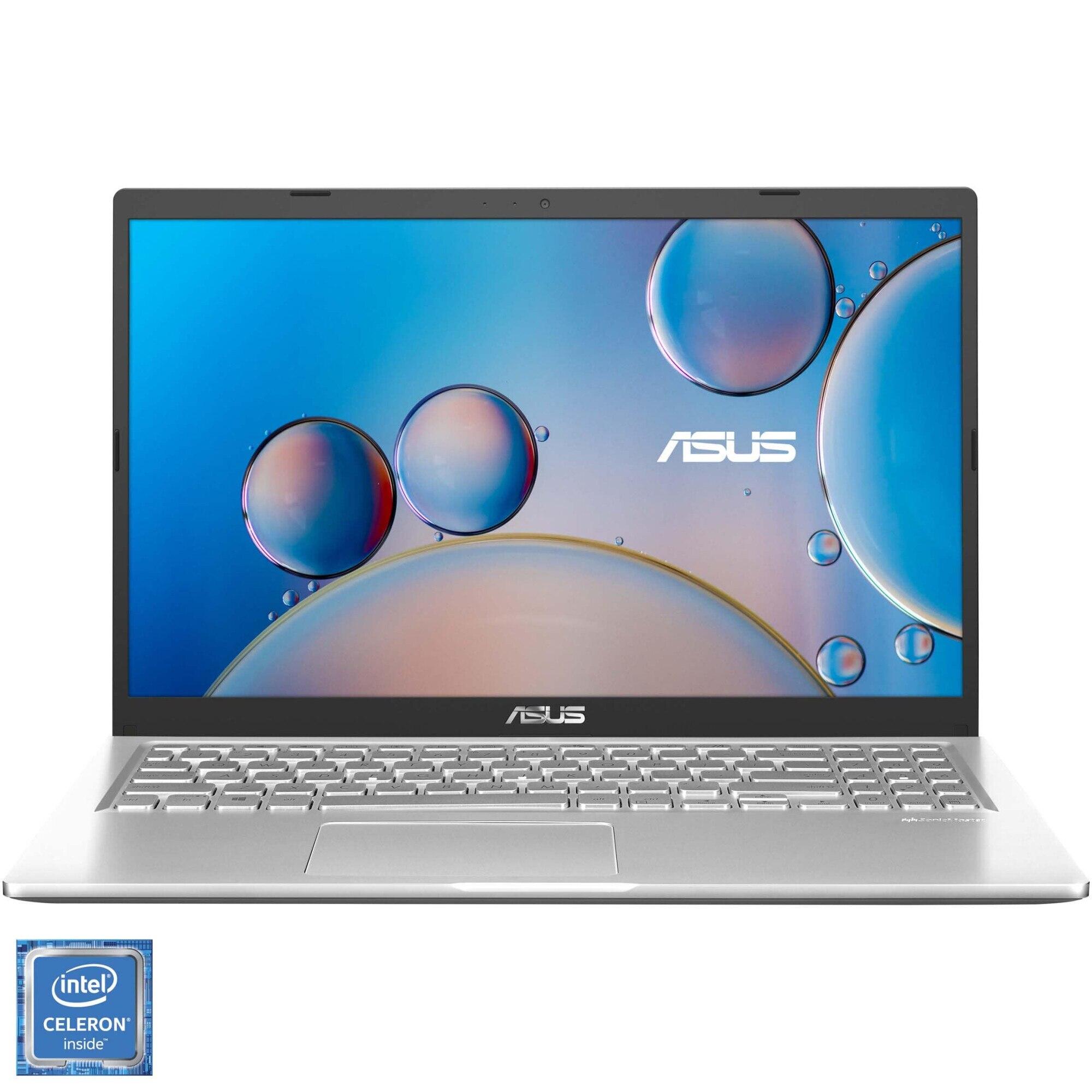 "Fotografie Laptop ASUS X515MA cu procesor Intel® Celeron® N4020 pana la 2.80 GHz, 15.6"", HD, 4GB, 1TB HDD, Intel® UHD Graphics 600, Free DOS, Transparent Silver"