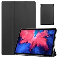 Lenovo Tab P11 (TB-J606F) Tok álló, bőr aktív flip tablet tok, TRIFOLD asztali tartó funkció, fekete