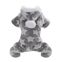 Bluza pentru animale, cu stele, stil pijama, cu gluga, material pufos S