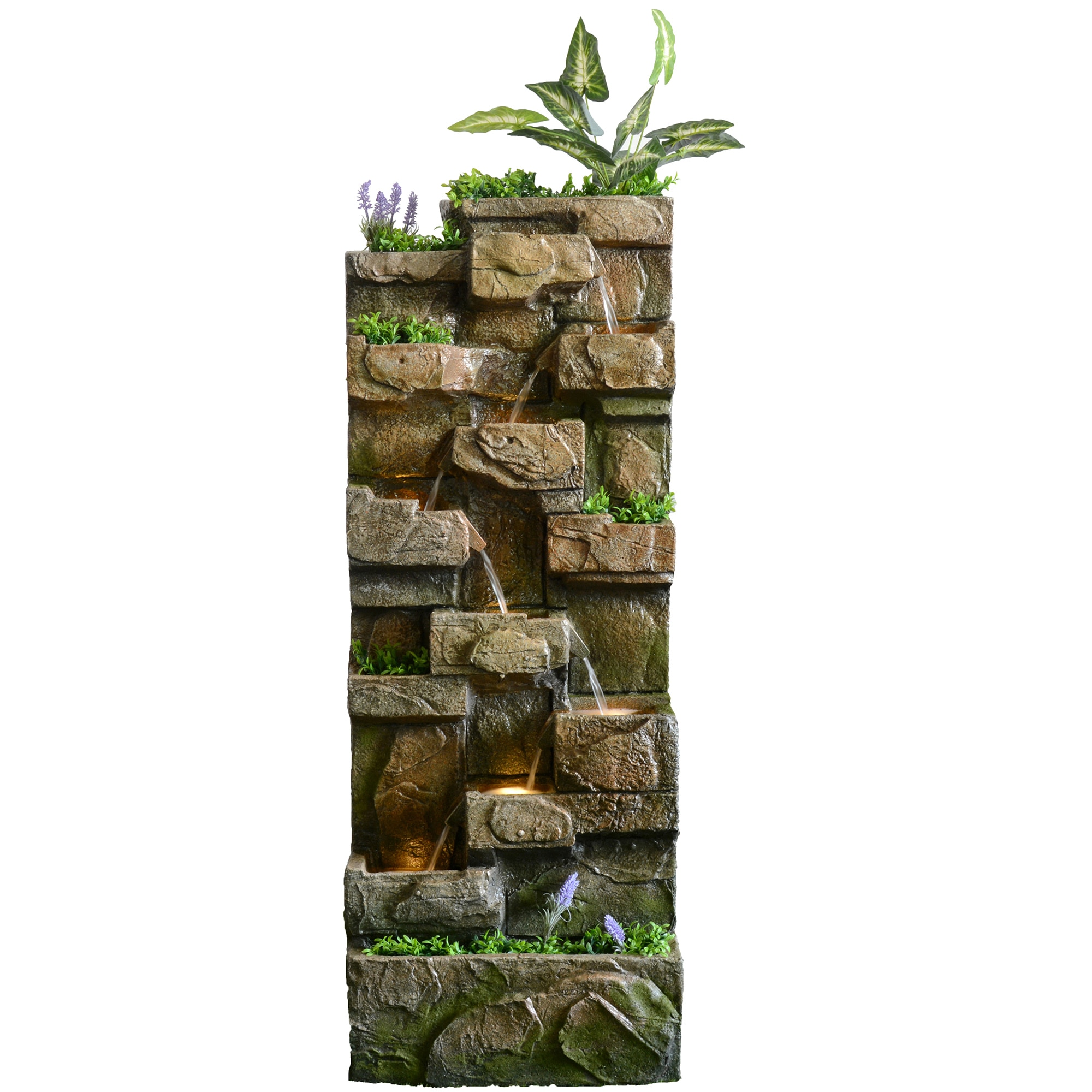 Fotografie Fantana decorativa LED gradina, 33.5x52x135 cm, polirasina, model zid piatra
