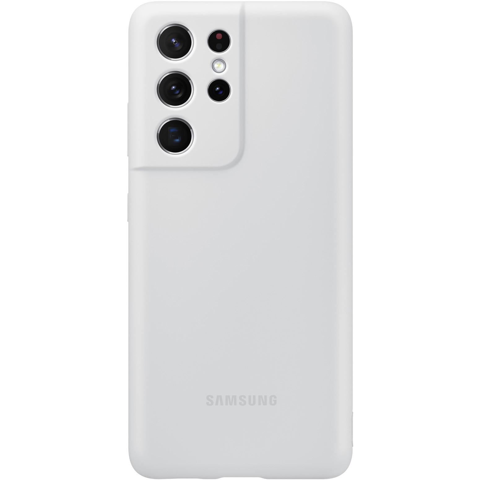 Fotografie Husa de protectie Samsung Silicone Cover pentru Galaxy S21 Ultra, Light Gray