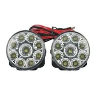2 db Palmonix nappali menetfény, univerzális, kerek, 9 LED * 0,5 W, 12 V, 70 x 64,5 x 46 mm