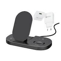 Incarcator Wireless eLIVE GY-Z6S 3in1, Pliabil, Senzor Touch, Qi Type-C Super Fast Charge 3A, Adaptor Qualcomm 3.0 Inclus, Indicator Luminos, Compatibil Telefon Apple, Samsung, Huawei, Xiaomi, Apple Watch, Casti AirPod 2, Airpods Pro, Buds, Buds+, Negru